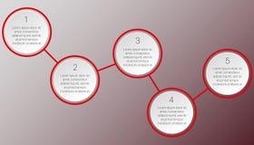 Rotes infographics von zwei runden Blöcken Stockbild