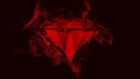 Rotes Juwel mit beweglichen Partikeln stock video