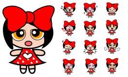 Rotes Karikaturmädchen Stock Abbildung