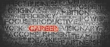 Rotes KARRIERE-Wort umgeben durch berufliche Wörter stockfotografie