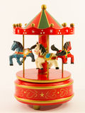 Rotes Karussellpferdeglockenspiel stockfotografie