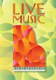 Rotes Klavier auf gelbem und grünem Hintergrund Stockbilder
