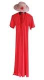 Rotes Kleid mit Hut stockfoto