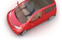 Rotes Konzeptauto 3d getrennt auf Weiß Stockfoto