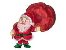 Rotes Kostüm und Tasche handgemaltes c Aquarelllächeln Santa Clauss vektor abbildung