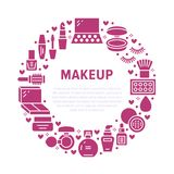 Rotes Kreisplakat der Make-upschönheitspflege mit flachen Glyphikonen Kosmetikillustrationen des Lippenstifts, Wimperntusche, Pul lizenzfreie abbildung