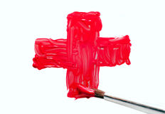 Rotes Kreuz mit Pinsel Stockfoto