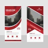 Rotes Kurve Geschäft rollen oben flache Designschablone der Fahne, Fahnenschablone Vektor-Illustrationssatz der Zusammenfassung g lizenzfreie abbildung