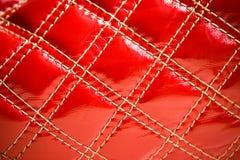 Rotes Leder des Beutels Stockbilder
