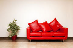 Rotes ledernes Sofa mit Kissen mit Anlage nahe Lizenzfreies Stockfoto