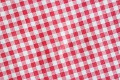 Rotes Leinen zerknitterte Picknickdecke Lizenzfreie Stockfotografie