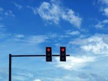 Rotes Lichtsignal auf Schnittstraße von Thailand, von Halt oder von Bruch Stockbild