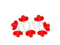 Rotes Liebe letetrs grayheart lokalisiert auf dem weißen Hintergrund Romanze stock abbildung