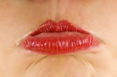 Rotes Lippenschmollen Stockfotografie