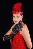Rotes Meisterstück der gefährlichen schönen Artkleidung des Brunette im Jahre 1920 Kleider Stockbilder