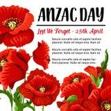Rotes Mohnblumendesign der Anzac Day-Vektorerinnerungskarte Lizenzfreies Stockfoto