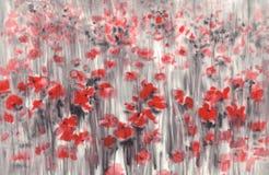 Rotes Mohnblumenfeld in einem grauen Aquarellhintergrund Stockfoto