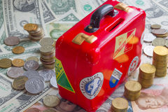 Rotes moneybank stockfotografie
