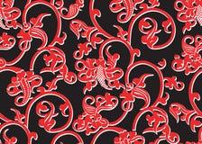 Rotes Muster der nahtlosen Weinlese mit weißer Kontur auf Schwarzem Lizenzfreie Stockfotografie