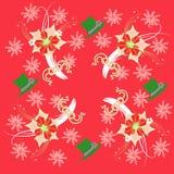 Rotes Muster mit Poinsettia und Schneeflocken stockfotografie