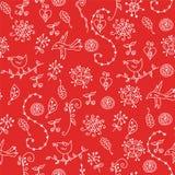 Rotes nahtloses mit Blumenmuster mit grafischen Symbolen lizenzfreie abbildung