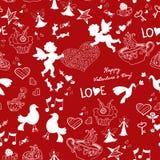 Rotes nahtloses Muster der romantischen Liebe Stockfotos