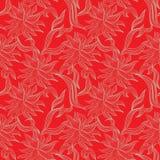 Rotes nahtloses Muster mit Blumenverzierung Lizenzfreie Stockfotografie