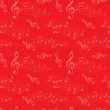 Rotes nahtloses Muster mit gewellten Musikanmerkungen - vector Hintergrund Lizenzfreie Stockfotografie