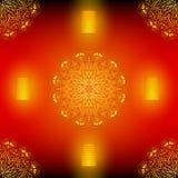 Rotes nahtloses Vektormuster Diwali mit goldener Mandala Vektor Abbildung