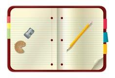 Rotes Notizbuch und Bleistift stock abbildung