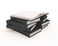 Rotes offenes Buch auf Stapel Büchern mit schwarzen Abdeckungen lizenzfreie abbildung
