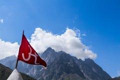 Rotes OM kennzeichnen im indischen Himalaja Stockfotos