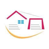 Rotes orange Blau der Hauslogosymbolfirmenzeichendesign-Illustration Lizenzfreie Stockfotografie