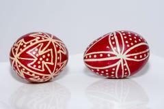 Rotes Ostern, traditionelle Eier, Abschluss oben, Rumänien Lizenzfreie Stockfotos
