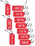 Rotes Papier beschriftet Rabatt Lizenzfreie Stockfotografie