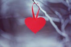 Rotes Papierherz auf dem Hängen an einer Winterniederlassung Konzept-Valentinsgrußtag Stockbilder