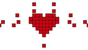Rotes Pixel Art Heart im Retrostil Animation 4K auf einem weißen Hintergrund Wie Social Media-Ikonen-Konzept-Bewegungs-Grafiken stock abbildung