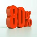 80 rotes Prozent-Zeichen Lizenzfreies Stockfoto