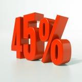 45 rotes Prozent-Zeichen Stockfotografie