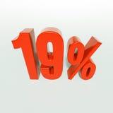 19 rotes Prozent-Zeichen Lizenzfreies Stockbild