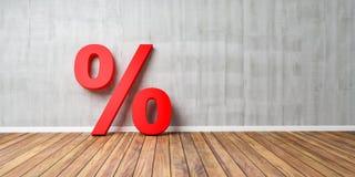 Rotes Prozent-Zeichen auf Brown-Bretterboden gegen Gray Wall - Verkaufs-Konzept - Illustration 3D Stockfotografie