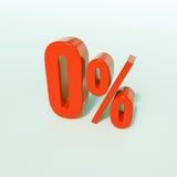 Rotes Prozent-Zeichen null, Prozentsatzzeichen, 0 Prozent Lizenzfreies Stockbild