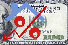 Rotes Prozentzeichen mit Pfeil auf dem Hintergrund von Banknoten Lizenzfreie Stockfotos