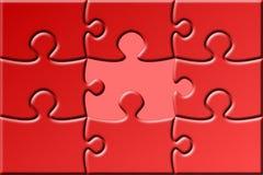 Rotes Puzzlespiel mit fehlendem Stück Lizenzfreie Abbildung