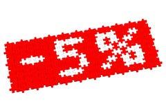 Rotes Puzzlespiel mit Zeichen -5% Stockbild