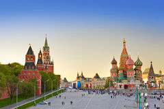 Rotes Quadrat, Moskau am Sonnenuntergang lizenzfreies stockbild