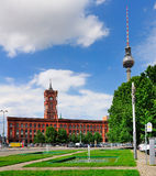 Rotes Rathaus and Fernsehturm, Berlin Royalty Free Stock Image