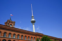 The Rotes Rathaus and Fernsehturm, Berlin Germany royalty free stock image