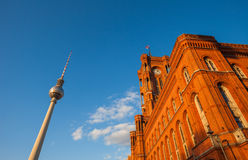 The Rotes Rathaus and Fernsehturm (TV Tower), Berlin. Wide angle view of Rotes Rathaus and Fernsehturm (TV Tower), Berlin Royalty Free Stock Photo