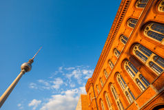 The Rotes Rathaus and Fernsehturm (TV Tower), Berlin. Wide angle view of Rotes Rathaus and Fernsehturm (TV Tower), Berlin Royalty Free Stock Image